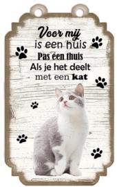 Kat gemengd ras 2. Houten tekstbordje met kat 20 x 12 cm