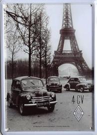 Renault 4CV Metalen wandbord 15x20 cm
