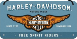 Harley Davidson Free Spirit Riders  Metalen wandbord in reliëf 10 x 20 cm.