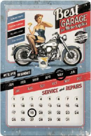 Best Garage for Motorcycles Kalender Metalen Wandbord in reliëf 20 x 30 cm