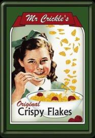 Mr. Crickles Crispy Flakes Metalen Postcard 10  x 14 cm