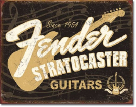 Fender  Stratocaster 60th .   Metalen wandbord 31,5 x 40,5 cm.