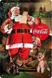 Kerstman Coca Cola (2) Metalen wandbord in reliëf 20 x 30 cm.