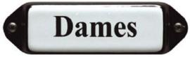Dames (3) Emaille bordje met oor 8 x 3 cm.