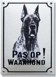 Pas op Waakhond Deense Dog Emaille bordje 20 x 30 cm.