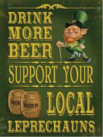 Drink More Beer Leprechauns Metalen wandbord 40 x 30 cm.