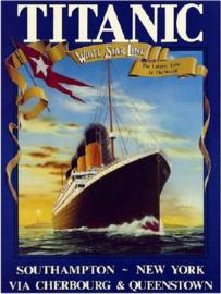 Titanic White Star Line.  Metalen wandbord 30 x 40 cm.