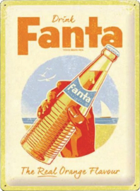 Fanta The real orange flavour.   Metalen wandbord in reliëf 30 x 40 cm.