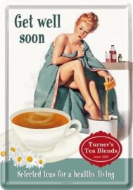 Get Well Soon Metalen Postcard 10 x 14 cm.