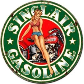 Sinclair Gasoline  Pin Up.  Stalen wandbord 35,5 cm rond.