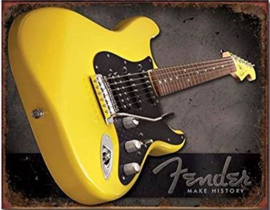 Yellow Fender Make History Metalen wandbord 31,5 x 40,5 cm