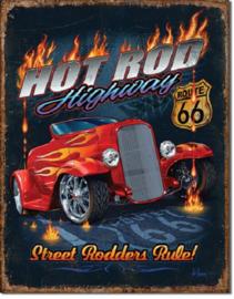 Hot Rod Highway 66.  Metalen wandbord 31,5 x 40,5 cm.