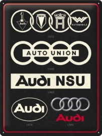 Audi - Logo Evolution .  Metalen wandbord in reliëf 30 x 40 cm.