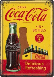 Coca Cola in Bottles Metalen Postcard 10 X 14 cm
