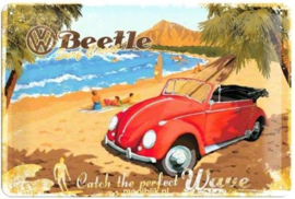 VW Beetle Surf Coast Metalen wandbord in reliëf 20x30 cm