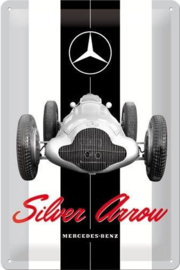 Mercedes-Benz Silver Arrow Metalen wandbord in reliëf 20 x 30 cm.
