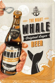 The Night Whale Beer Metalen wandbord in reliëf 20 x 30 cm