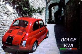 Fiat 500 Dolce Vita Metalen  wandbord 20 x 30 cm.