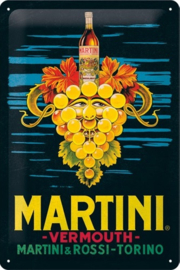 Martini - Vermouth Grapes . Metalen wandbord in reliëf 20 x 30 cm.