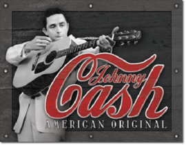 Johnny Cash American Original .  Metalen wandbord 31,5 x 40,5 cm.