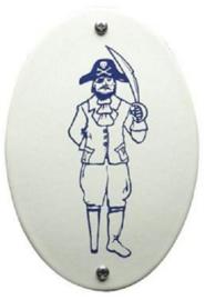 Piraat Emaille Toiletbordje 8 x 11,5 cm .