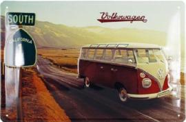 VW Bus T1 Highway 1 Metalen wandbord in reliëf 20 x 30 cm.