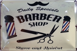 Daily Specials Barber Shop .   Metalen wandbord  20 x 30 cm.