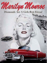 Marilyn Monroe Diamonds . Metalen wandbord 30 x 40 cm.