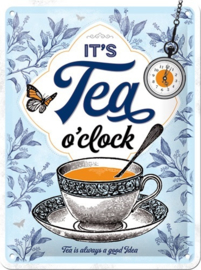 It's Tea O'Clock Metalen wandbord in reliëf 15 x 20 cm..