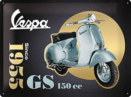 Vespa - GS 150 Since 1955 Special Edition   Metalen wandbord in reliëf 30 x 40 cm .