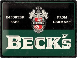 Beck's Bier Grun Metalen wandbord in reliëf 30 x 40 cm.