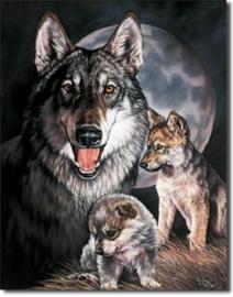 Wolf met jongen Metalen wandbord 31,5 x 40,5 cm.
