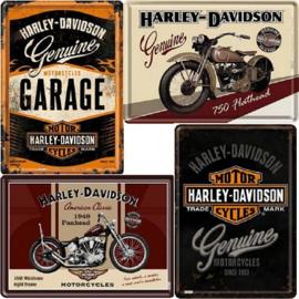 4 Metalen Ansichtkaarten Harley-Davidson  10 x 14 cm.