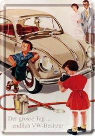 VW Besitzer.  Metalen Postcard 10x14 cm.