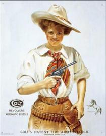 Colt Revolvers Western Girl Metalen wandbord 31,5 x 40,5 cm.