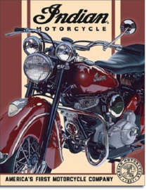 Indian Motorcycle  Metalen wandbord 31,5 x 40,5 cm.
