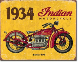 Indian Motorcycle 1934  Metalen wandbord 31,5 x 40,5 cm.