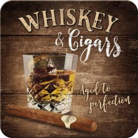 Whiskey & Cigars Onderzetters 9 x 9 cm.  5 stuks.