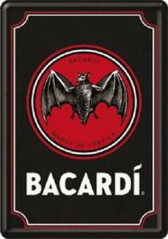 Bacardi - Logo Black. Metalen Postcard 10 x 14 cm.