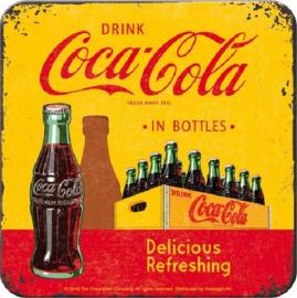 Coca Cola in Bottles Onderzetters 9 x 9 cm.  5 stuks.