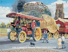 Garrett Steam Traction Engine Metalen wandbord 30 x 40 cm.