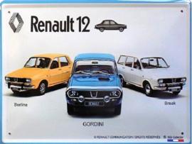 Renault 12 Metalen wandbord 30 x 40 cm.