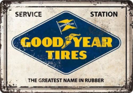 Good Year Tires.    Metalen Postcard 10  x 14 cm.