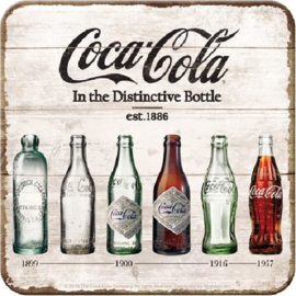 Coca Cola Bottle Timeline Onderzetters 9 x 9 cm.  5 stuks.