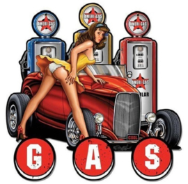 Pin Up en Hot Rod bij de Gas Pump.