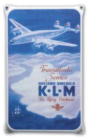 KLM Transatlantic Emaille Reclamebord 20 x 33 cm.