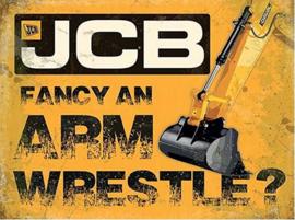 JCB Arm Wrestle ? Metalen wandbord 40 x 30 cm