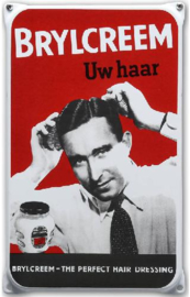Brylcreem Emaille Reclamebord 20 x 33 cm.