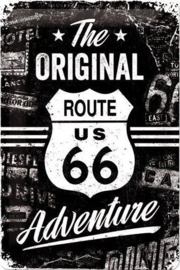 The Original Route 66 Adventure Metalen wandbord in reliëf 20 x 30 cm