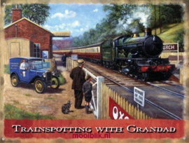 Trainspotting with Grandad Metalen wandbord 30x40 cm